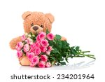 bunch of roses and a teddy bear ... | Shutterstock . vector #234201964
