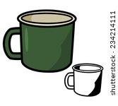 Old Green Enamel Mugs