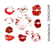 lip prints. happy valentine's... | Shutterstock .eps vector #234241249