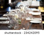 glasses  flower fork  knife... | Shutterstock . vector #234242095