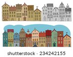 cartoon hand drawing houses | Shutterstock .eps vector #234242155