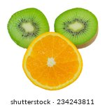 slices of orange and kiwi... | Shutterstock . vector #234243811