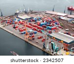 Helicopter view on a container terminal in Antwerp harbor - stock photo