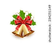 Golden Christmas Bells With Re...