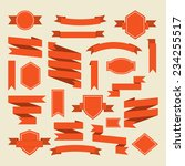 orange ribbons and label set in ... | Shutterstock .eps vector #234255517