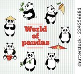 set of painted pandas | Shutterstock .eps vector #234256681