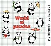 set of painted pandas | Shutterstock .eps vector #234256681