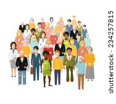 international group of people ... | Shutterstock .eps vector #234257815