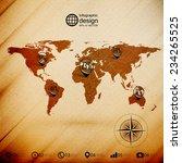 world map  wooden design... | Shutterstock .eps vector #234265525