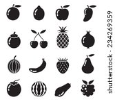 b w icons set   piece of fruits | Shutterstock .eps vector #234269359