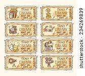 cinema sketch paper ticket set... | Shutterstock .eps vector #234269839