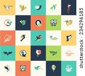 Set Of Flat Design Bird Icons...