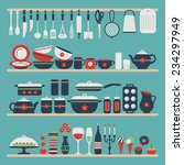 Set Of Kitchen Utensils And...