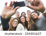 multiethnic group of friends... | Shutterstock . vector #234301627