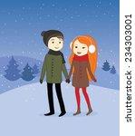 cute couple on a winter evening | Shutterstock .eps vector #234303001
