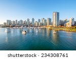 Stock photo view from the cambie bridge downtown skyline in vancouver canada 234308761