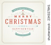 christmas retro typography and... | Shutterstock .eps vector #234327841