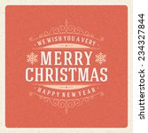 christmas retro typography and... | Shutterstock .eps vector #234327844