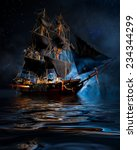 model pirate ship with fog and... | Shutterstock . vector #234344299