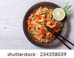 rice noodles with shrimps and... | Shutterstock . vector #234358039