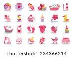 a cute newborn flat icons set... | Shutterstock .eps vector #234366214