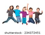 group of children jumping... | Shutterstock . vector #234372451