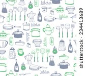 hand drawn kitchen background... | Shutterstock .eps vector #234413689