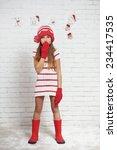 little fashion girl in fashion... | Shutterstock . vector #234417535