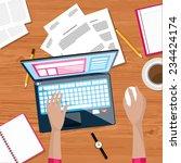 top view of working on laptop... | Shutterstock .eps vector #234424174