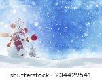 Happy Snowman Standing In...