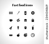 set of 16  fast food flat icons  | Shutterstock .eps vector #234434869