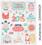 christmas set   labels  emblems ...   Shutterstock .eps vector #234440029