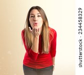 pretty girl sending kiss over... | Shutterstock . vector #234458329