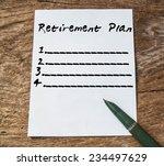 text retirement plan on paper...   Shutterstock . vector #234497629