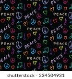 doodle pattern grunge peace ...   Shutterstock . vector #234504931