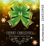 green christmas bow on abstract ... | Shutterstock .eps vector #234515935