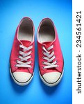 pair of used gym shoes on blue | Shutterstock . vector #234561421