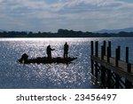 Fisherman  Boat Silhouette At...