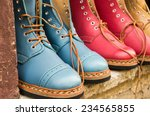 Leather Boots Colored Fabrics...