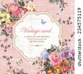 Stock vector vintage floral vector card with bright flowers and butterflies on a pink background 234575119