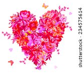 pink flower heart with on a... | Shutterstock .eps vector #234575614