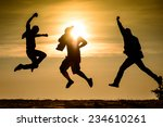 people jumping silhouette photo ... | Shutterstock . vector #234610261