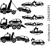 tow truck icons and car crash | Shutterstock .eps vector #234630391