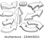 hand drawn simple 3d arrows set ... | Shutterstock .eps vector #234643021