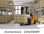 forklift in warehouse with many ... | Shutterstock . vector #234658489