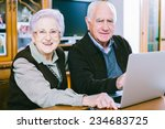 senior couple working with... | Shutterstock . vector #234683725