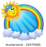 rainbow circle with sun and... | Shutterstock . vector #23470300