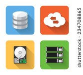 flat data storage icons. vector ...