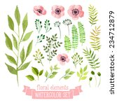Stock vector vector floral set colorful floral collection with leaves and flowers drawing watercolor spring 234712879
