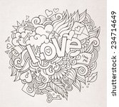 love hand lettering and doodles ... | Shutterstock .eps vector #234714649